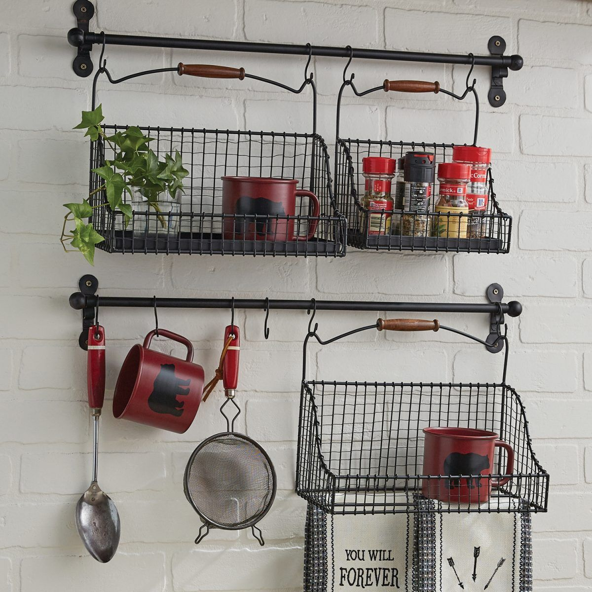Hanging Wire Baskets Set 2 Piper Classics Hanging Wire Basket Wire Basket Decor Hanging Baskets Kitchen