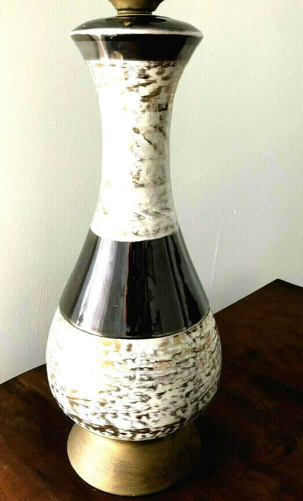Lamp Mid Century Modern Table Lamp Ceramic Brushed Gold ...