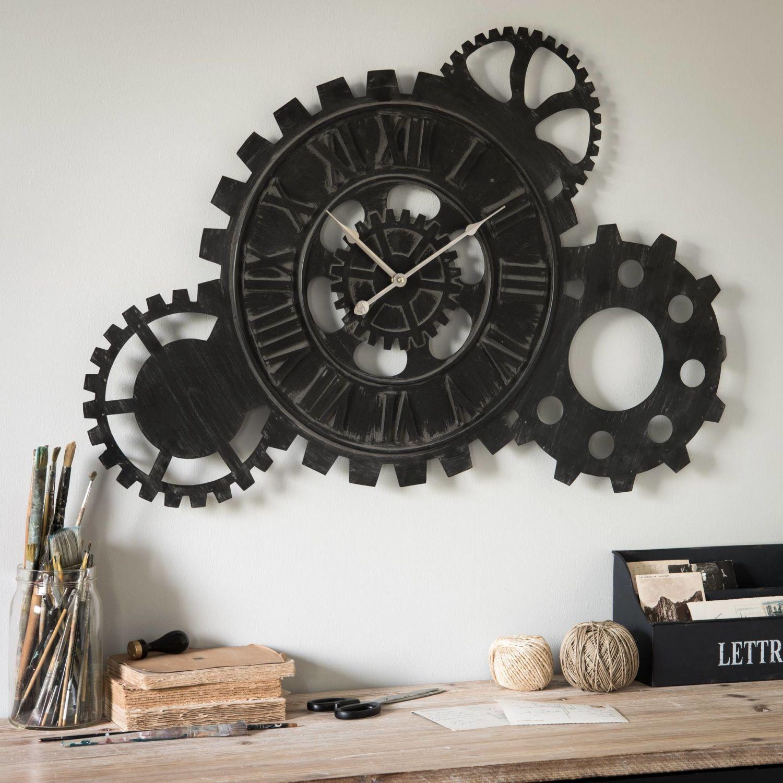 Black Metal Gear Clock Maisons Du Monde Horloge Mobilier De Salon Metal Noir