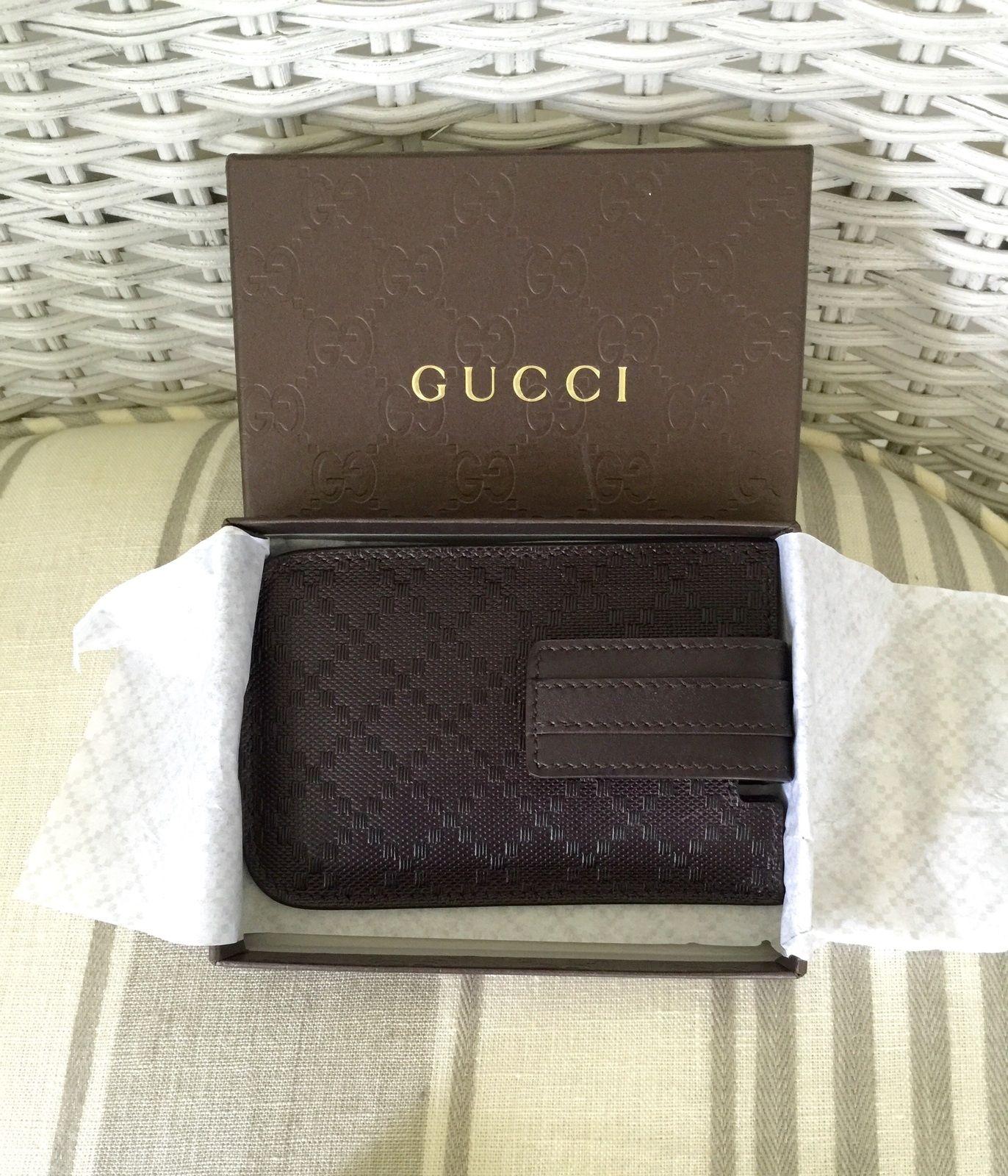 Gucci Custodia Brown Leather Card Holder NWT