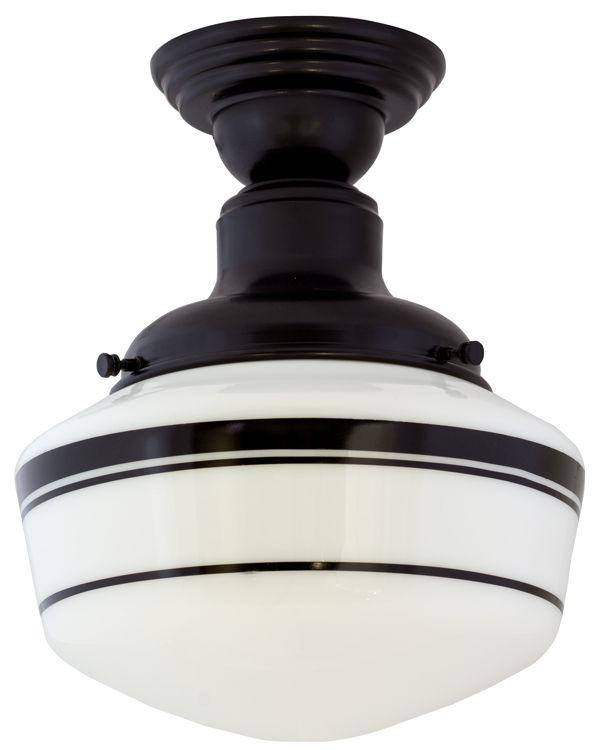 Intermediate Schoolhouse Semi-Flush Mount Light, Small Shade, 100-Black,  Triple - Intermediate Schoolhouse Semi-Flush Mount Light, Small Shade, 100