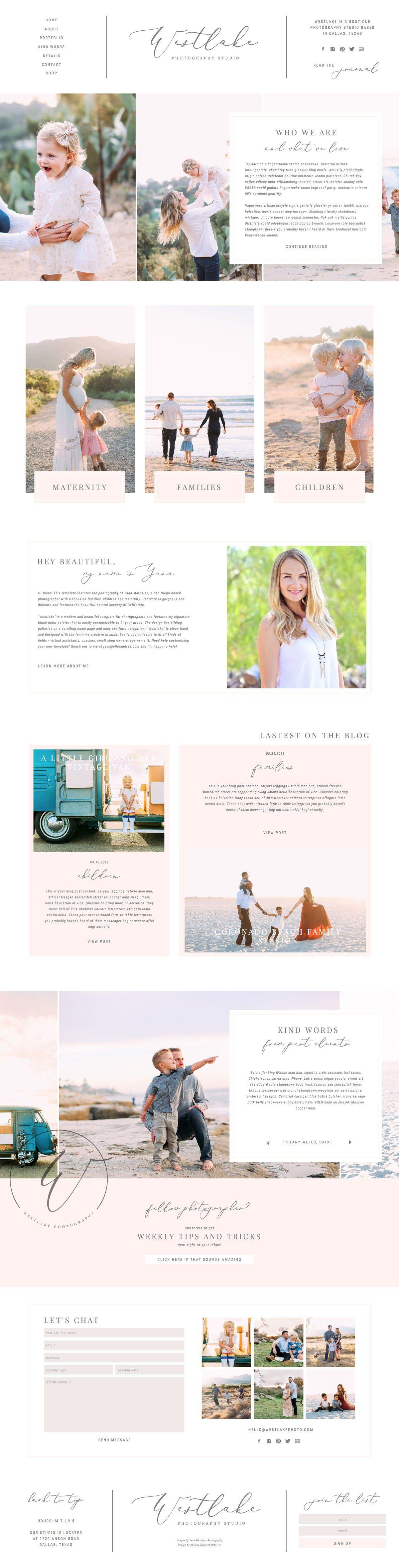 Westlake Showit Template Website Template Design Feminine Website Design Showit