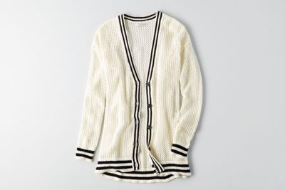 AEO Tipped Mesh Cardigan  by  American Eagle Outfitters | Warm up to cooler weather with a new collection of this season's essentials–featuring our coziest sweaters yet, in rich hues and soft textures. Shop the AEO Tipped Mesh Cardigan  and check out more at AE.com.