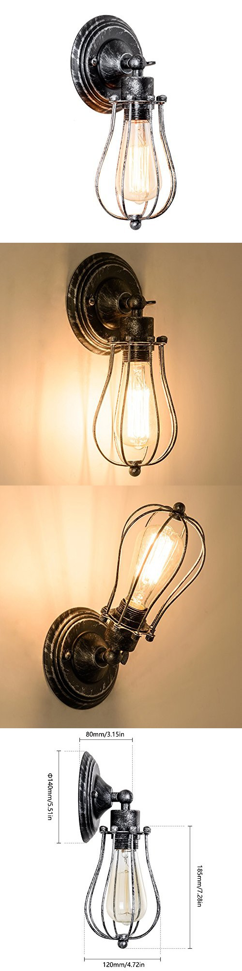 vintage wall lamp adjustable rustic retro wire cage wall light