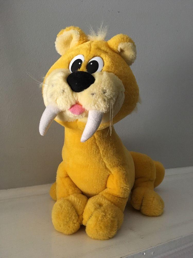 Vtg Flintstones Baby Puss Plush Stuffed Animal Hanna Barbera Yellow