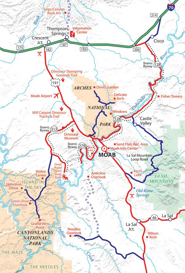 Moab Area Map | Exploring Outdoors | Utah parks, Utah vacation, Moab ...