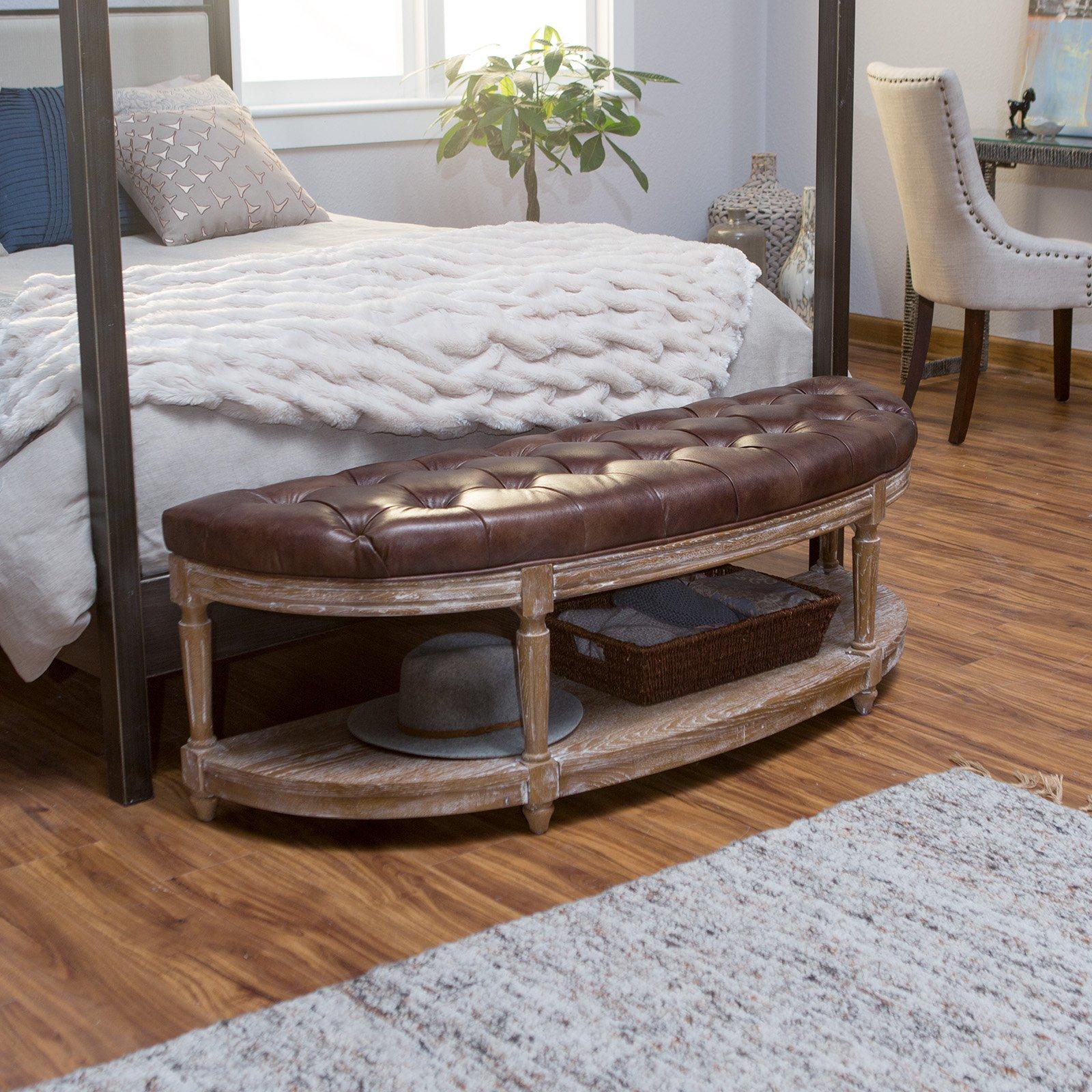 Outstanding Belham Living Tenley Tufted Half Moon Bench With Shelf In Machost Co Dining Chair Design Ideas Machostcouk