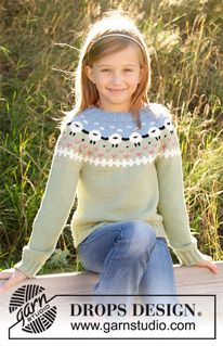 Lamb Dance Sweater - Knitted sweater for kids in DROPS Merino Extra Fine or DROPS Lima. Piece is knitted top down with sheep, color pattern, ribs and stockinette stitch. Size 3-12 years - Free pattern by DROPS Design