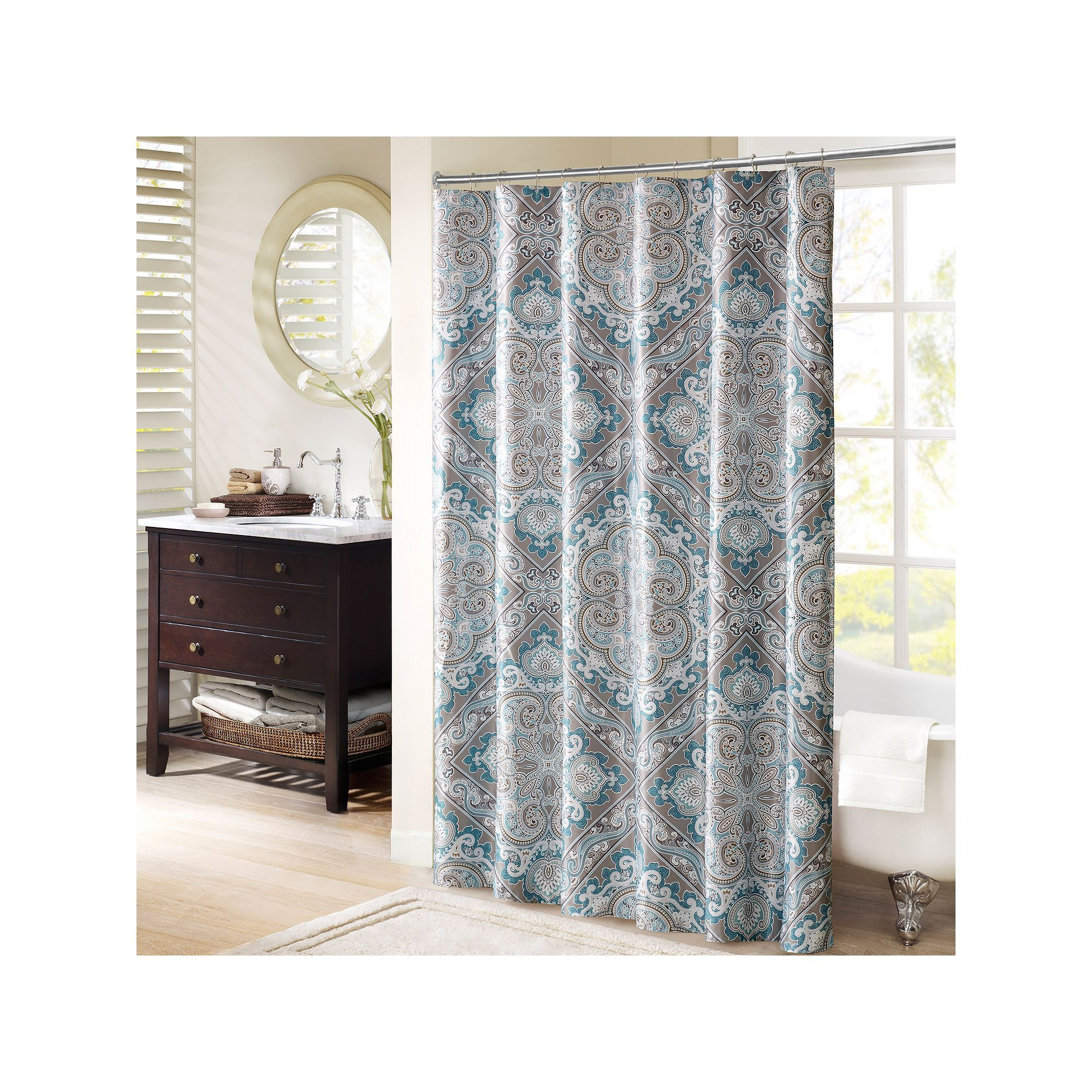 Madison Park Florence Shower Curtain Blue Curtains Shower