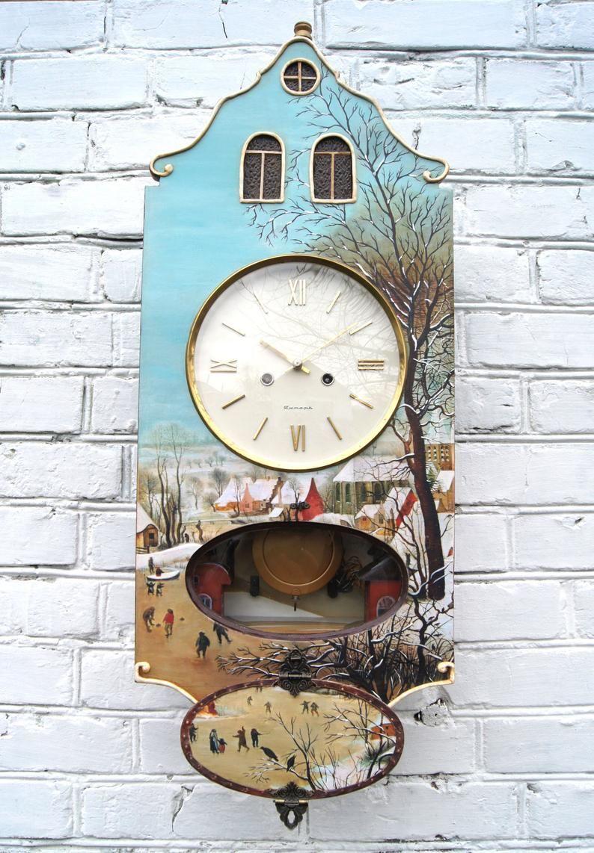 Large Pendulum Chime Wall Clock Unusual Vintage Russian Soviet Etsy Handmade Wall Clocks Clock Painting Clock