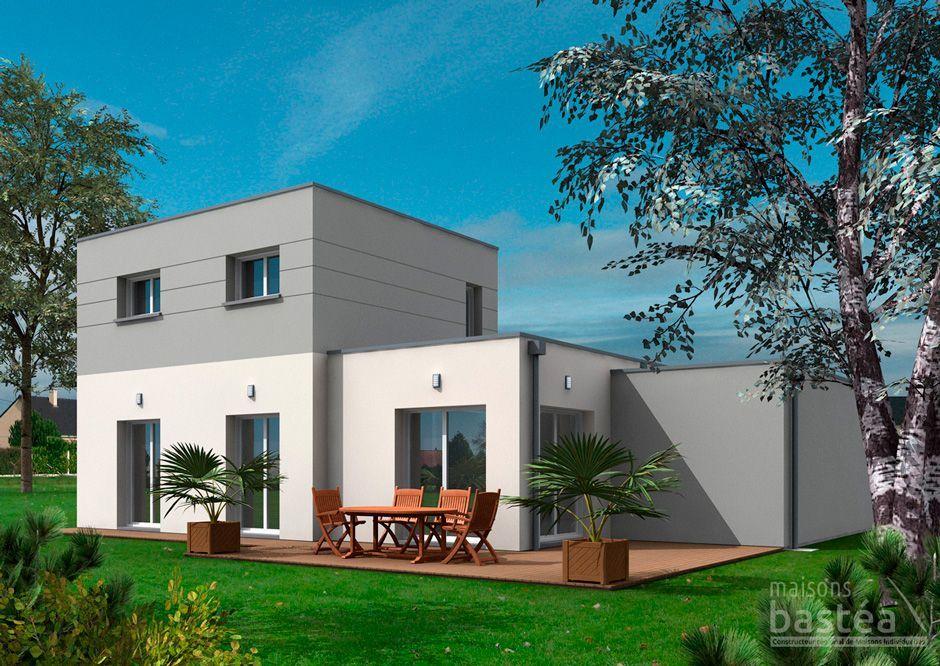 Grande maison cube cubique au toit plat, architecture moderne et de
