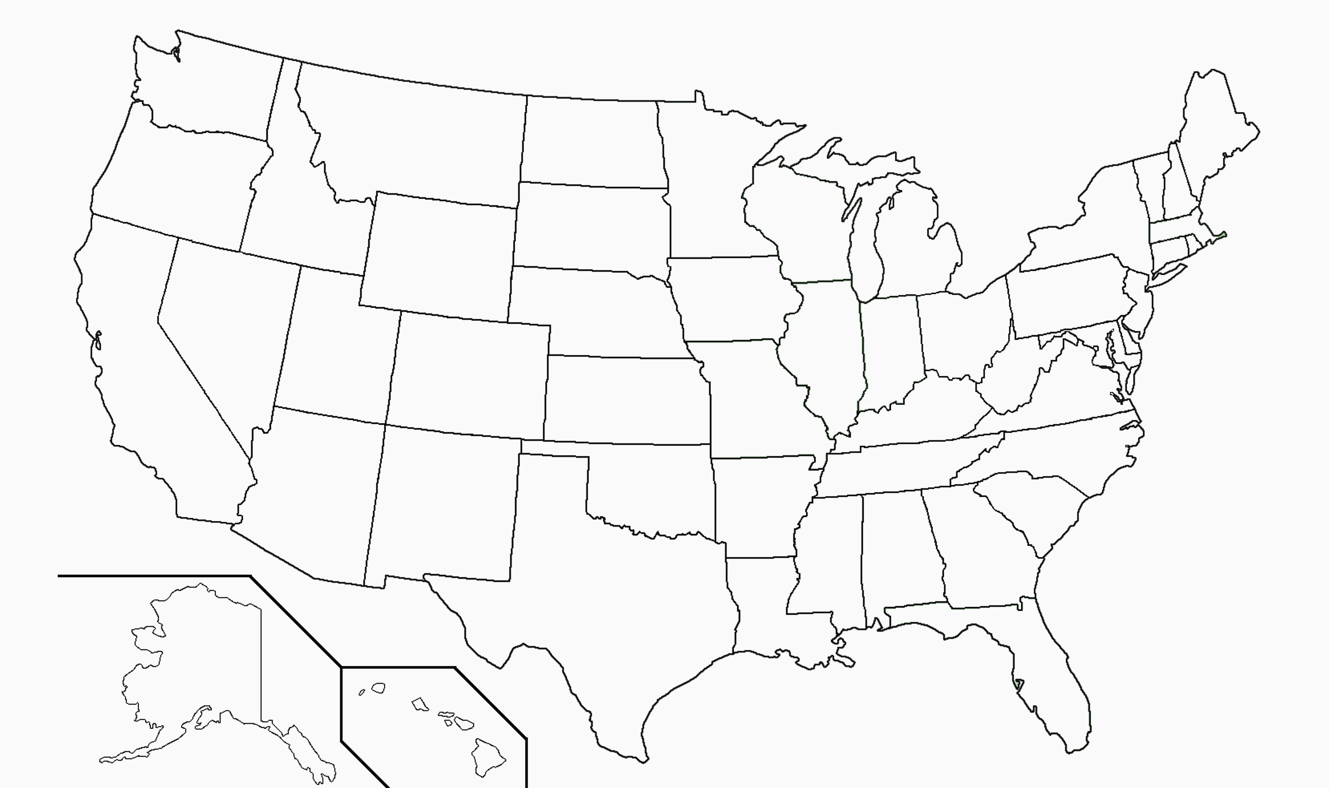 label united states map Blank Map Quiz Fifty States Map Printable Usa Map For Kids Us Map