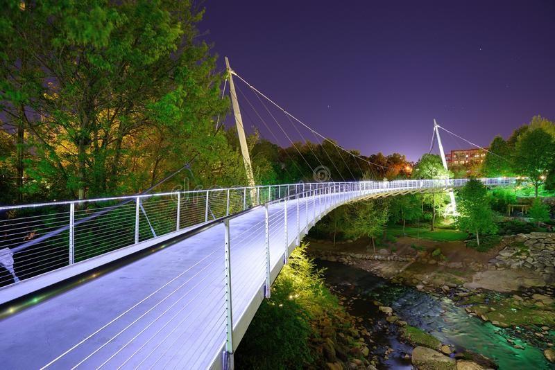Liberty bridge in greenville sc below the bridge was
