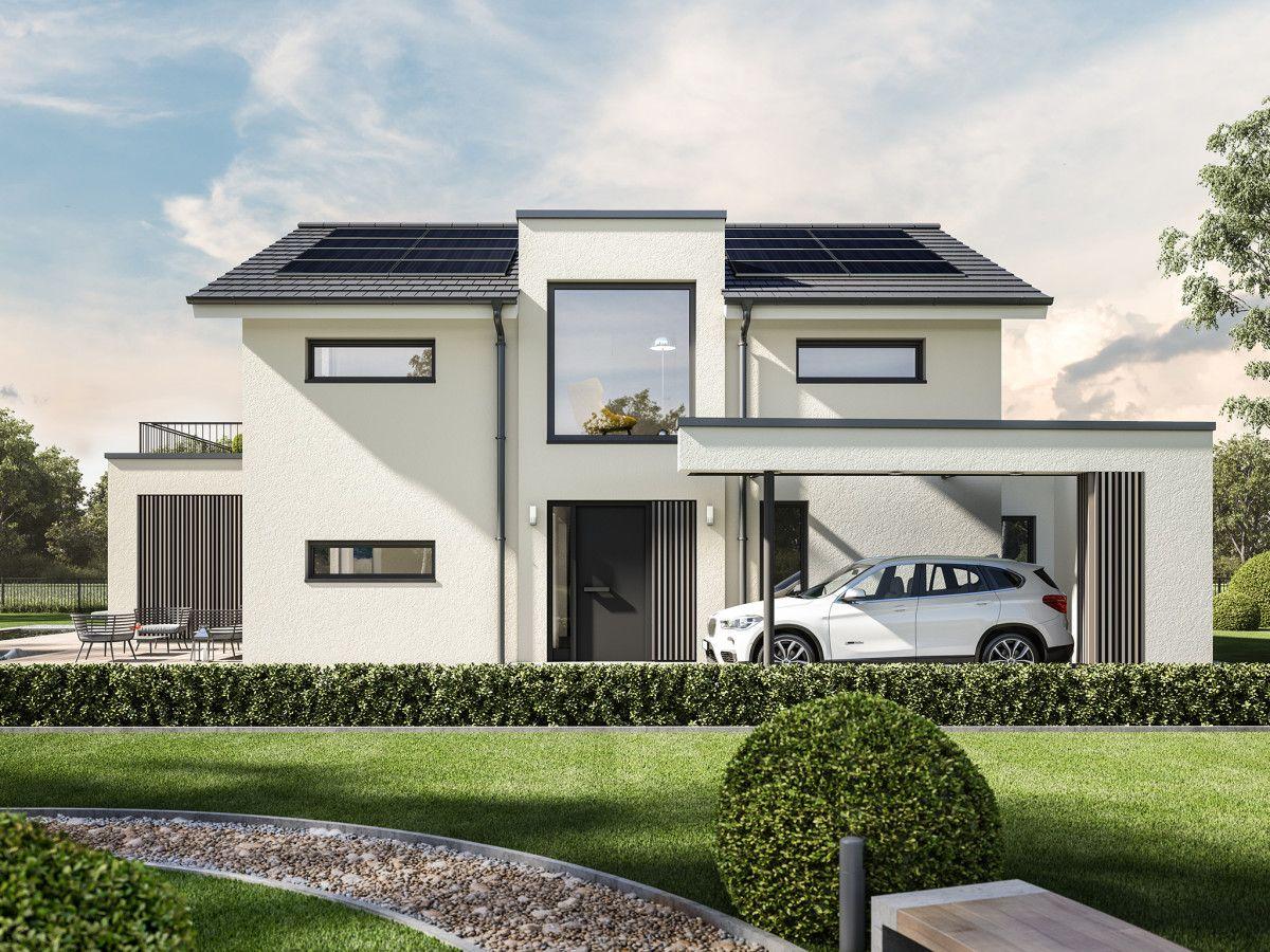 Schön Einfamilienhaus Modern Mit Satteldach   Haus Concept M 154 Bien Zenker    Fertighaus Bauen Hauseingang Aussen