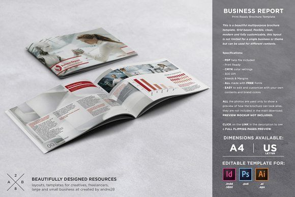 Business Report Template Brochure template, Template and Brochures