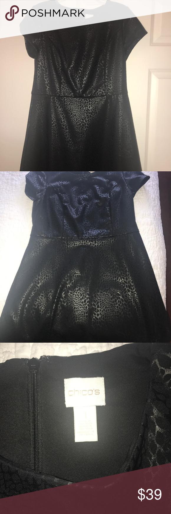 3f9c1f00938 Black dress Stunning black in black cheetah print short sleeve