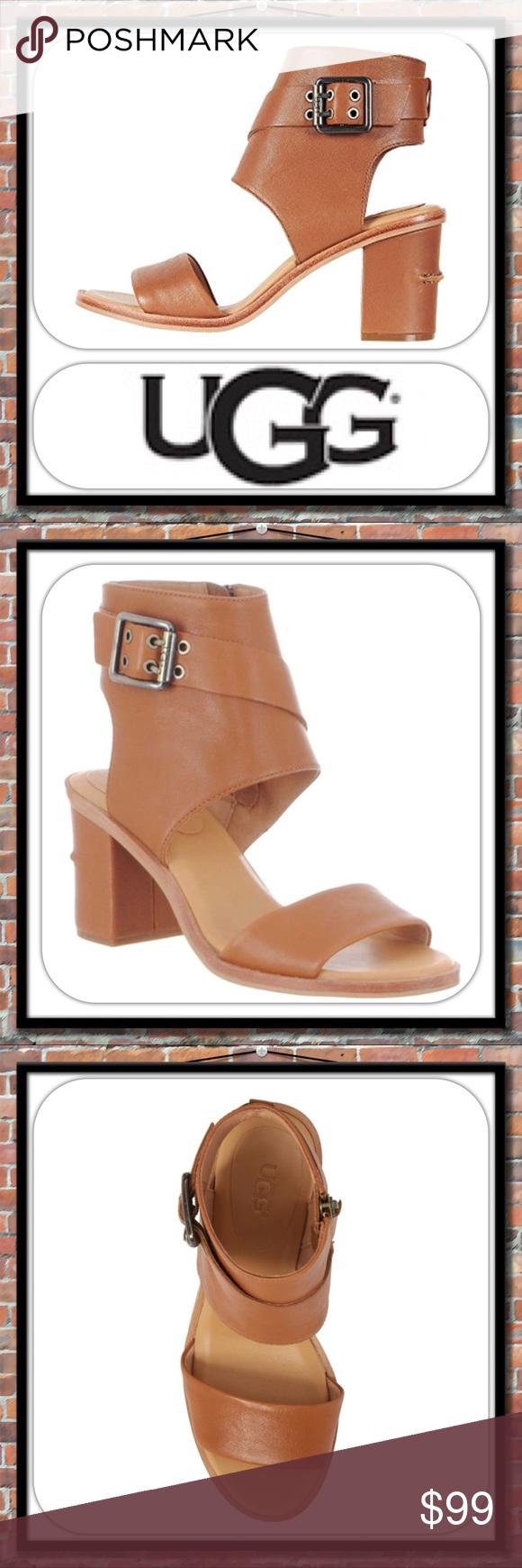 ded05d253c409 UGG Claudette Block Heel Sandal The UGG Claudette Sandal in Almond! A  belted ankle cuff