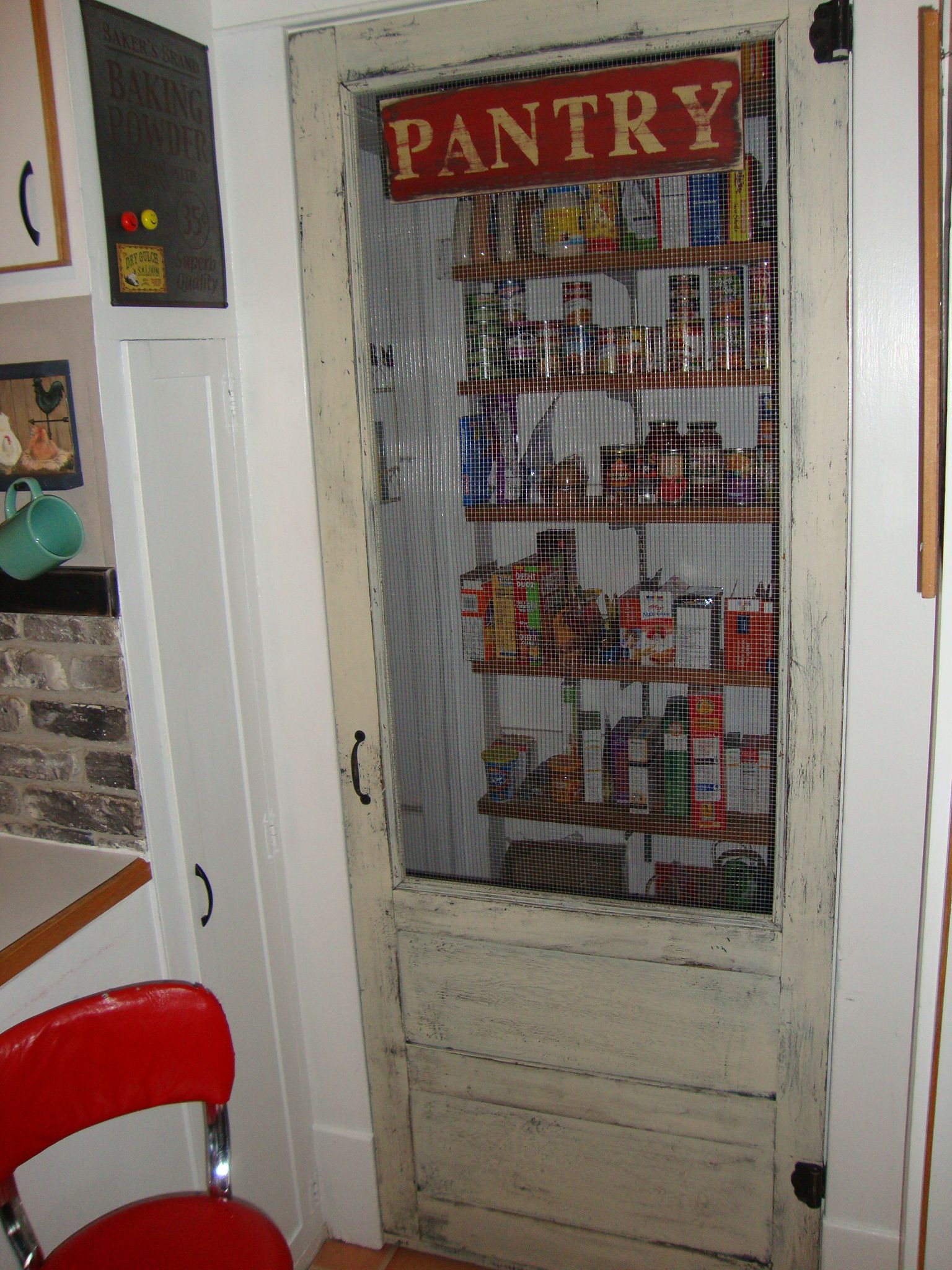An old screen door for a farmhouse pantry for more home for Pantry door ideas