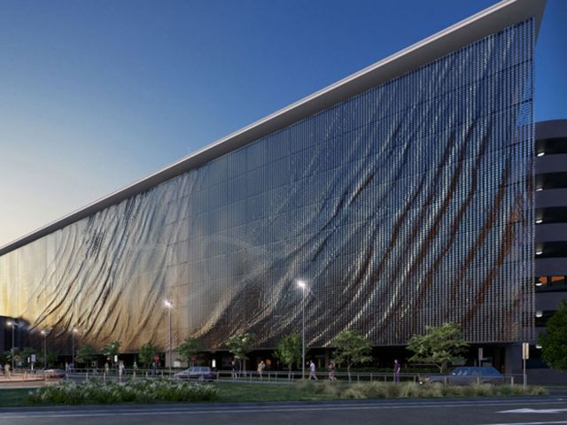Brisbane Airport Kinetic Parking Garage Façade by Ned Kahn and UAP