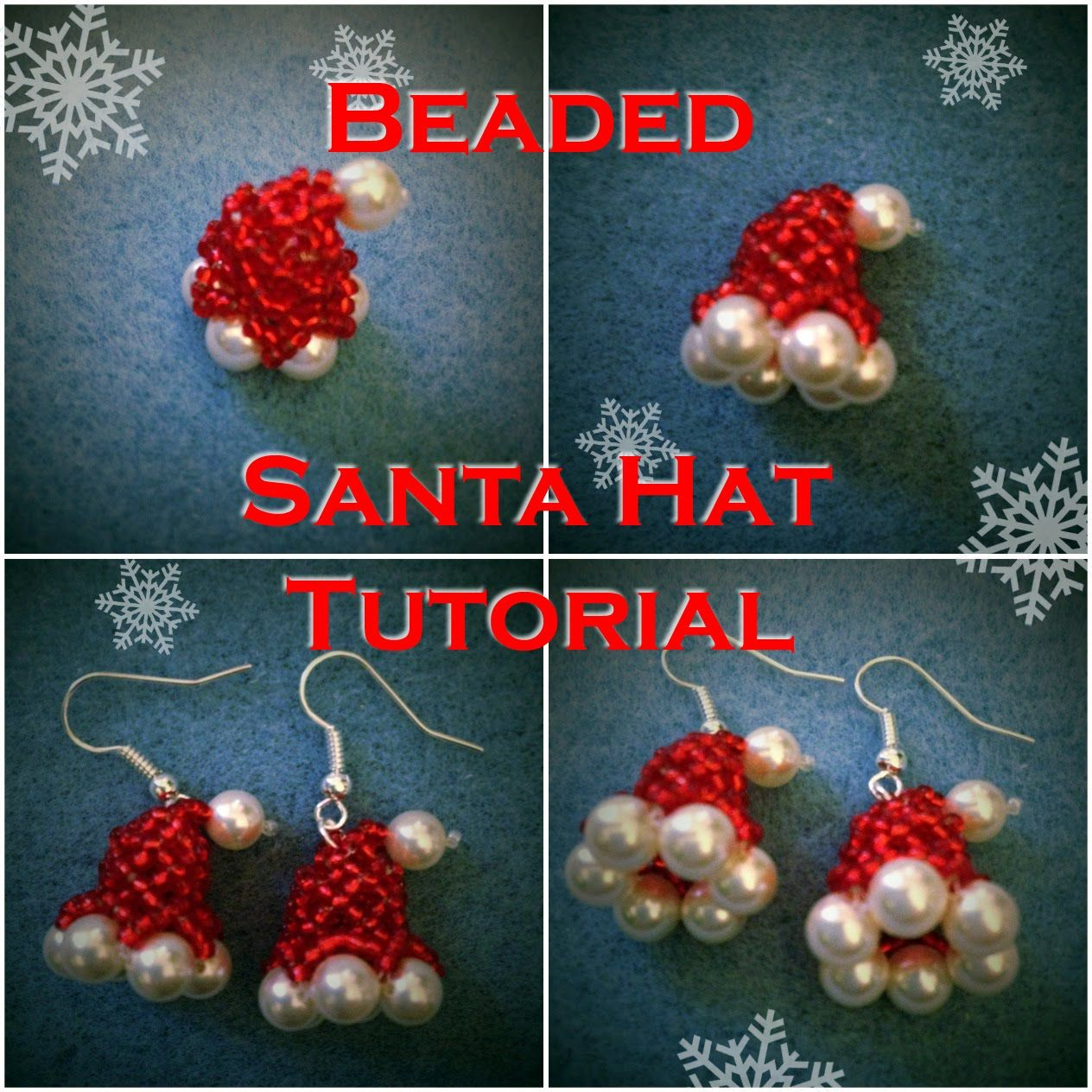 This Tutorial Will Show You How To Make A Little Beaded Santa Claus Hat That Can Be Used As An Earrin Christmas Bead Holiday Beading Beaded Christmas Ornaments