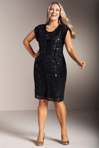 f9eea1bebb80a Plus Size Women s Fashion - Sara Beaded Sequin Dress by EziBuy Australia