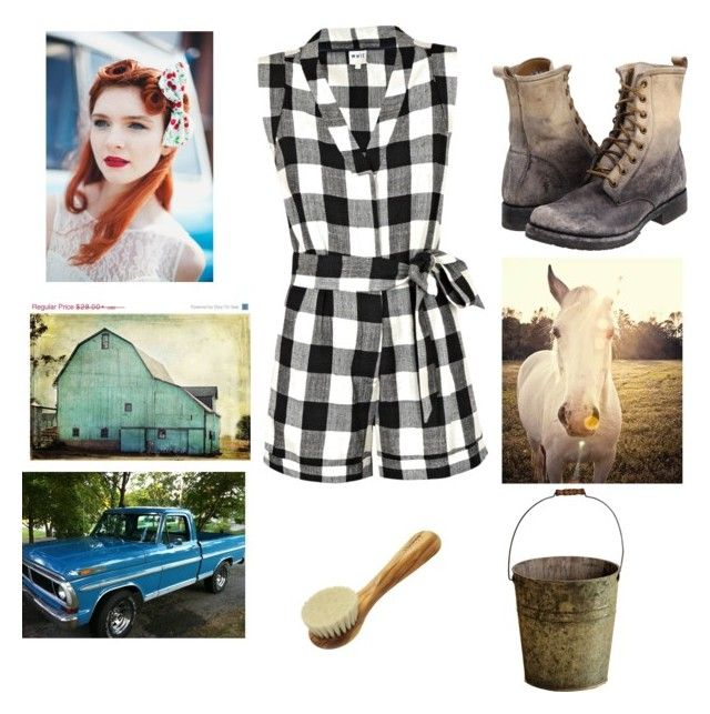 """Farm girl"" by snicole-wafle ❤ liked on Polyvore featuring Frye, Whit and Universal Lighting and Decor"