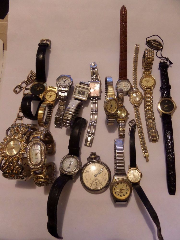 16 WRISTWATCHES LOT & A POCKET WATCH MAYBE NEEDS BATTERY