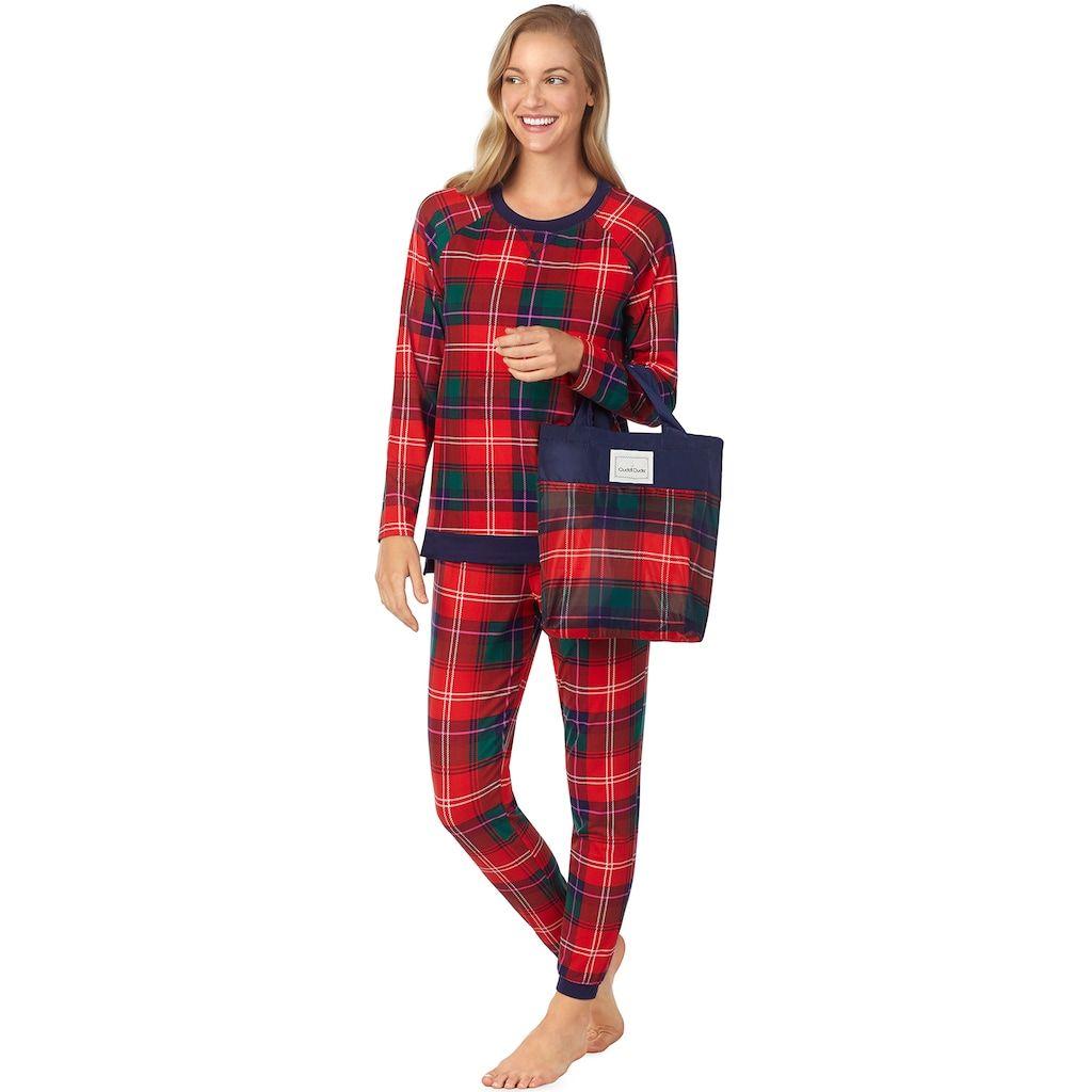 Red flannel pajamas  Womenus Cuddl Duds PajamasinaBag Pajama Set Size Small Dark
