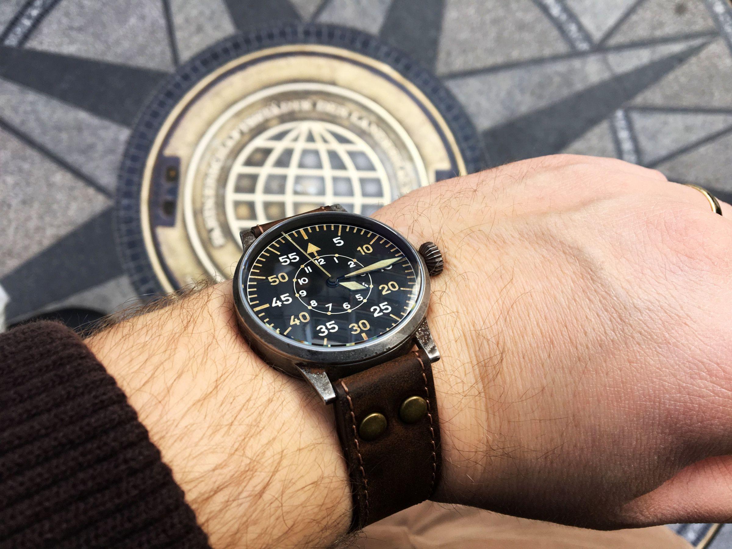 539c74d413752 Lacer Paderborn Erbstück Beobachtungsuhr Fliegeruhr B-Uhr B-Muster WWII  Vintage Handgelenk Wristshot