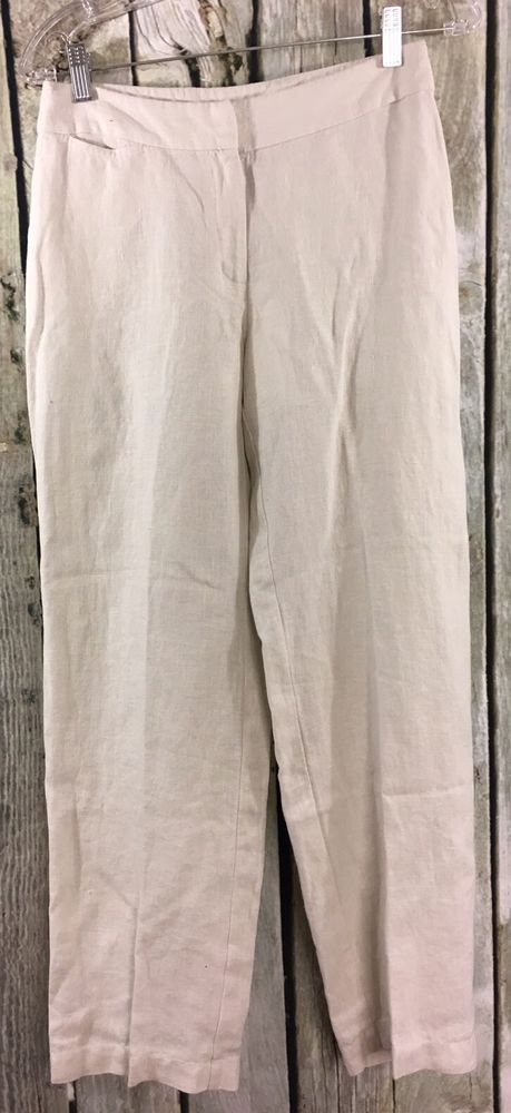 Eileen Fisher PP Luxe Trousers 100% Irish Linen Bone Beige Wide Leg Pants NWT #EileenFisher #CasualPants