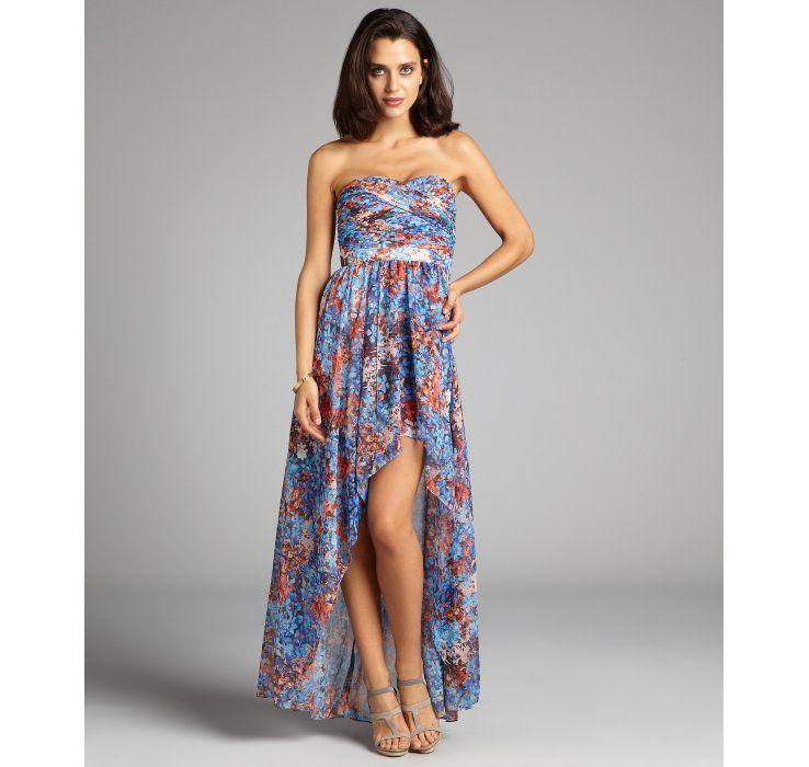 Aidan Mattox blue floral chiffon high low sweetheart strapless evening gown