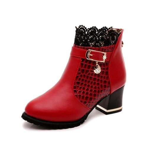Lace Hollow Out Ladies Shoes Woman Leather Sexy Ankle Boots ...