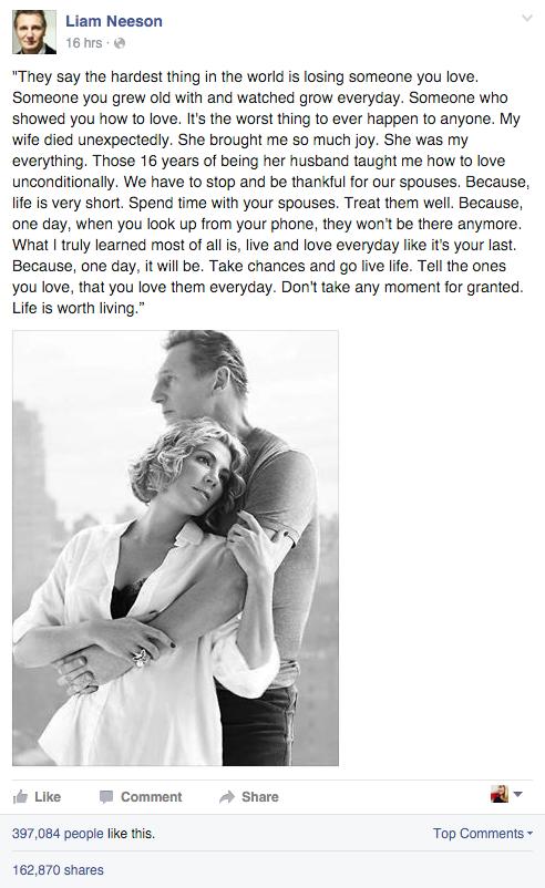 Liam Neeson Makes Touching Tribute To His Late Wife Natasha