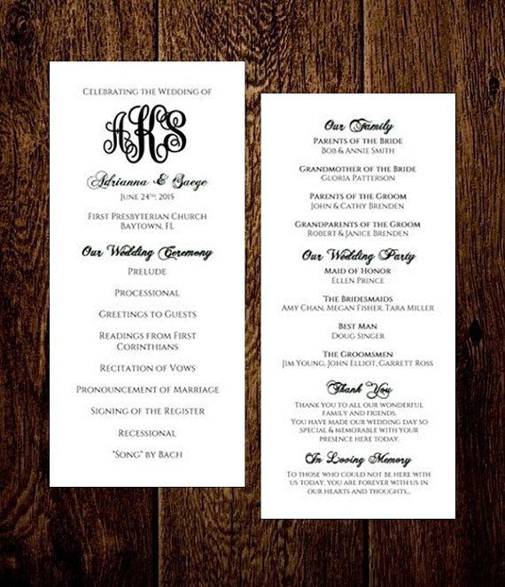 Monogram Wedding Program Template Tea Length Editable Diy You Edit Text Print Sug Monogram Wedding Program Wedding Programs Template Wedding Program Fans
