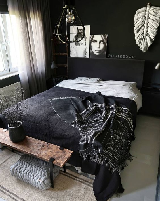 35 Inspiring Black and White Master Bedroom Color Ideas images