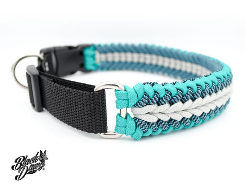 Heatwave Design Adjustable Paracord Dog Collar Teal Shark Etsy