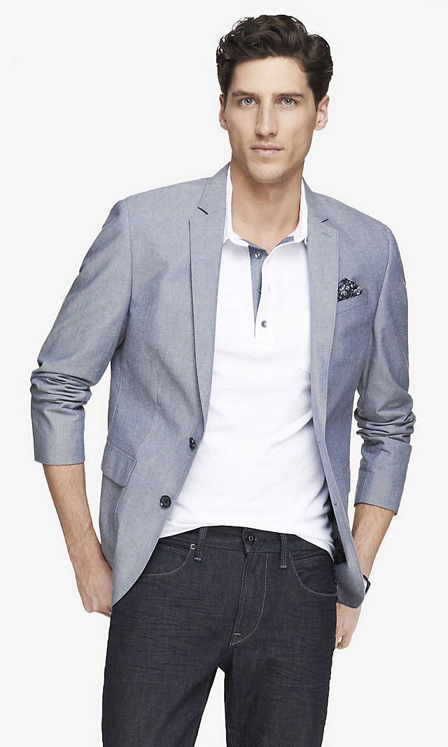 Like the look and color of this blazer    Cotton Chambray Blazer   Express
