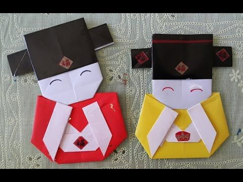 Easy origami craft: How to make a Japanese doll bookmark ...