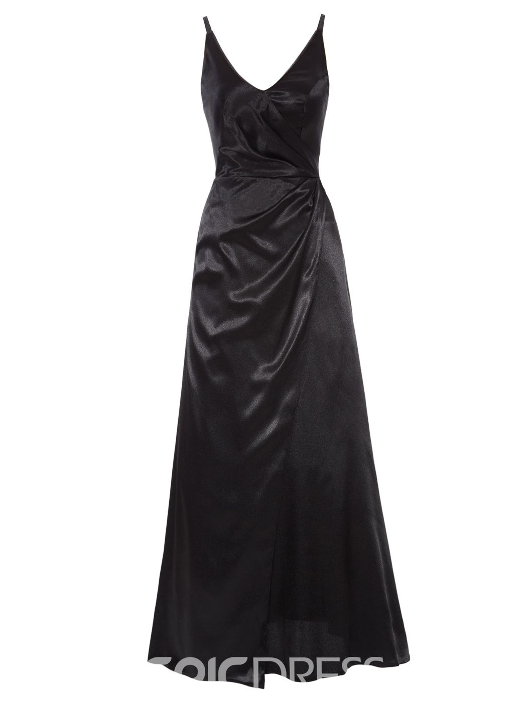 Simple vneck aline long evening dress prom