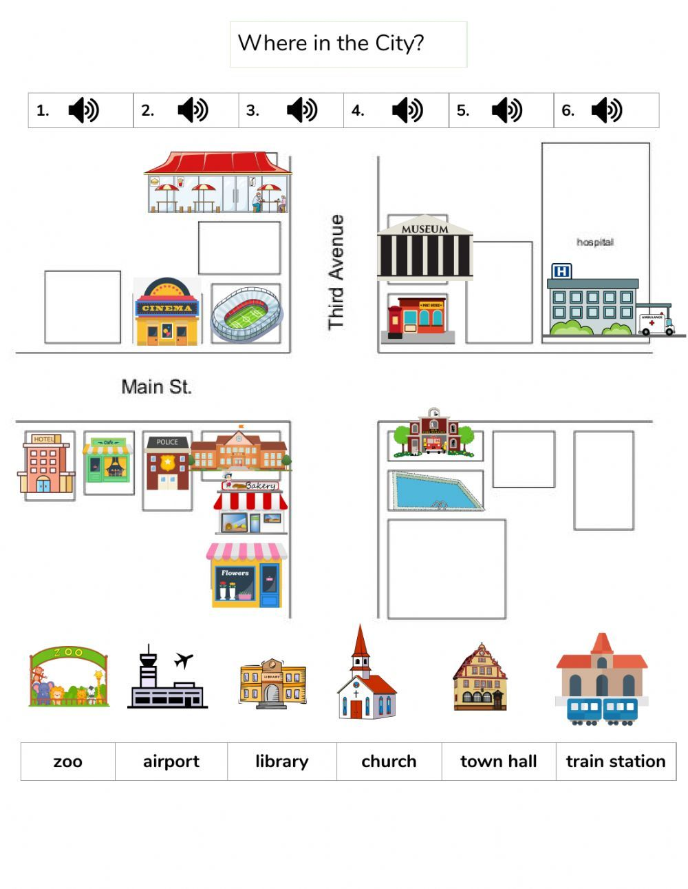 Where in the City? Interactive worksheet in 2020