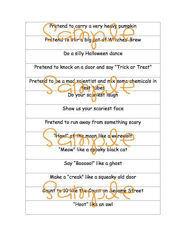 printable pdf halloween charades party game idea by sweetmellyjane