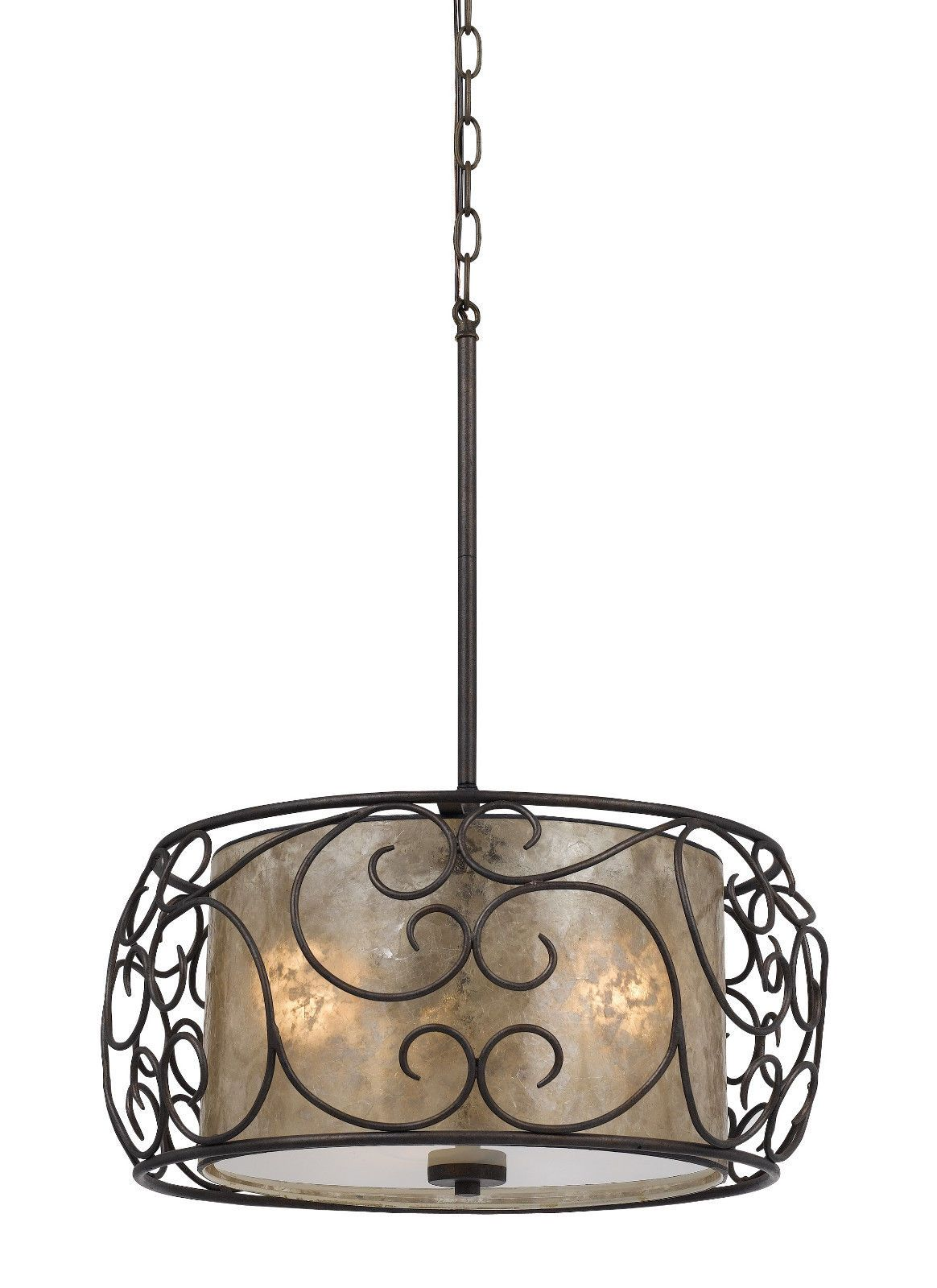 P beautiful and unique silver mica combined with bronze forged iron mica bronze forged iron drum pendant light direct wire w greentooth Image collections