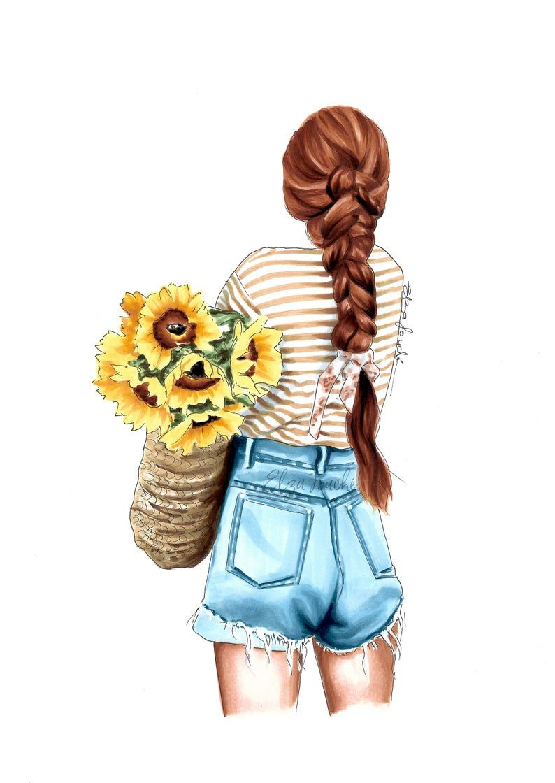 Photo of Fashion art print – fashion illustration – fashion wall art – gifts for her – wall art home – sunflowers – fashion sketch – art print