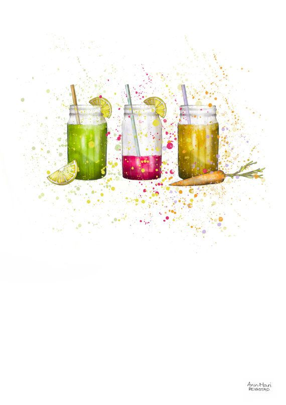 Smoothies healthy food illustration smoothie by annmarireigstad
