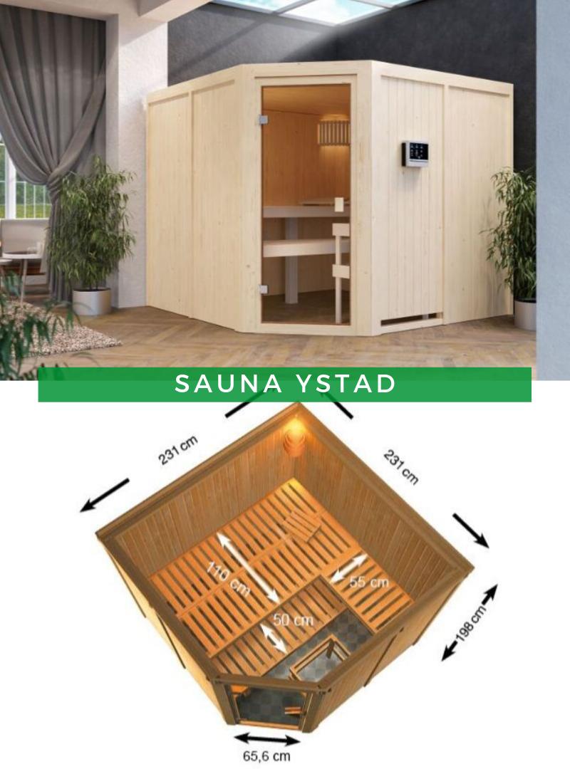 Karibu Woodfeeling Sauna Ystad mit Eckeinstieg in 2020