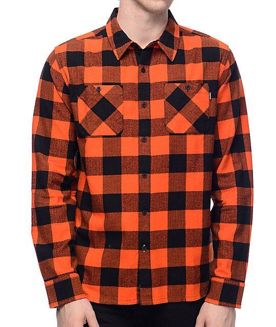 3c193b9a1e9eb Primitive Herringbone Orange Buffalo Plaid Flannel Shirt