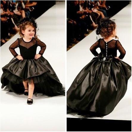 cb6f9fc0 2016 Cupcake Princess Ball Gown Tafetán negro High Girl bajo desfile  vestidos con mangas largas Moda niños trajes de baile formal