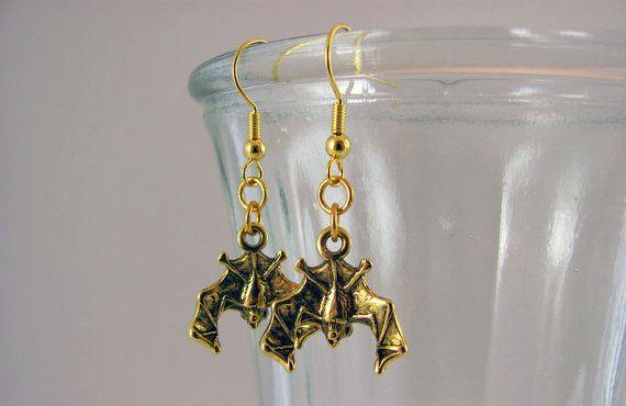 Gold Bat Earrings  Halloween Jewelry Gothic Jewellery by LuvCherie, $12.00