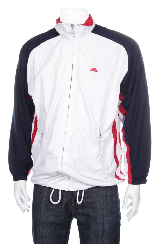 589d63eda1277 Vintage 90s Ellesse Tracksuit top Jacket Color Block Spell out  White Blue Red Size M by VapeoVintage on Etsy