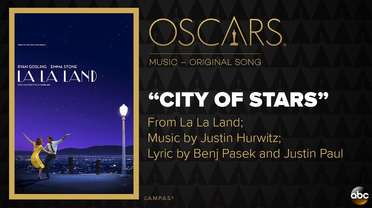 "RT @ABC: #Oscar for Best Original Song goes to ""City of Stars"" from 'La La Land.' https://t.co/yOZ5X2ihdG #Oscars https://t.co/Z8upV5CXlt"
